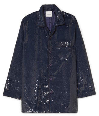 Ashish Sequined Cotton Shirt - Navy