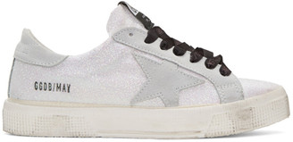Golden Goose White Glitter Star May Sneakers $395 thestylecure.com