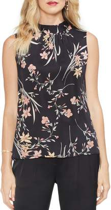Vince Camuto Floral Soiree Ruched Sleeveless Blouse