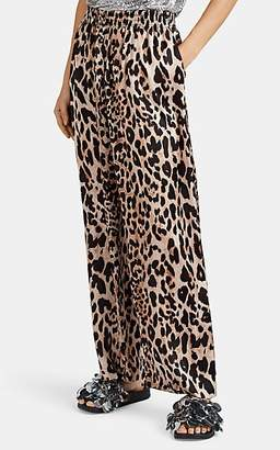 Paco Rabanne Women's Leopard-Print Satin Pants - Brown