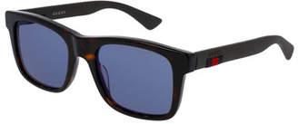 Gucci Tortoiseshell Acetate Rectangular Sunglasses w/Web Detail, Brown