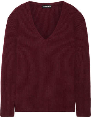 Tom Ford Ribbed Cashmere Sweater - Burgundy