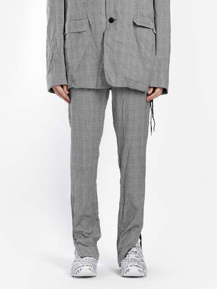 MEN'S GREY CHECK WRINKLED SUIT PANTS