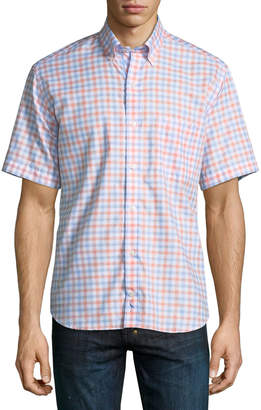 Tailorbyrd Gingham Short-Sleeve Button-Down Shirt