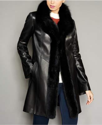 The Fur Vault Fox-Trim Lamb Leather Coat