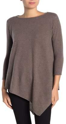Magaschoni M 3/4 Sleeve Cashmere Asymmetrical Hem Pullover