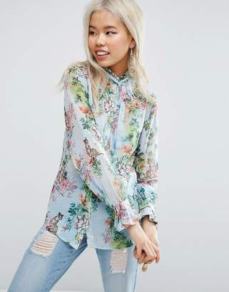 ASOS Floaty Blouse in Floral Tiger Print $55 thestylecure.com