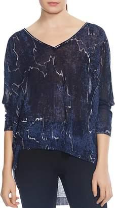 Halston Printed High/Low Sweater