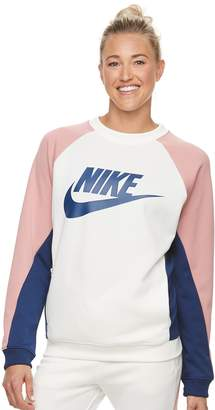 Nike Women's Sportswear Color-Block Crewneck Top