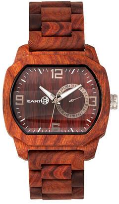 Earth Wood Scaly Wood Bracelet Watch W/Date Red 46Mm