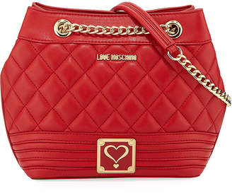 Love Moschino Quilted Faux-Napa Bucket Bag