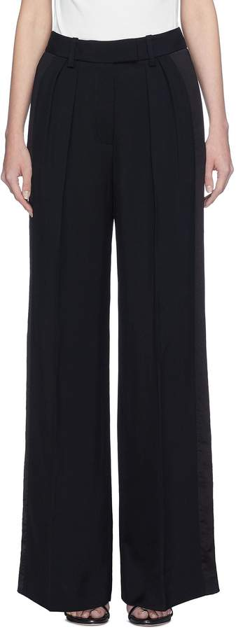 Stripe outseam wide leg twill suiting pants