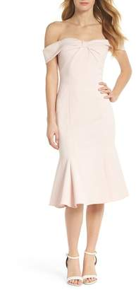 Gal Meets Glam Tyler Off the Shoulder Scuba Crepe Dress