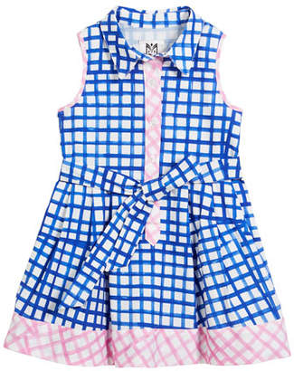 Milly Minis Sleeveless Check Shirt Dress, Size 8-14