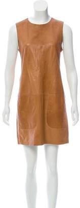 Vince Leather Sleeveless Midi Dress
