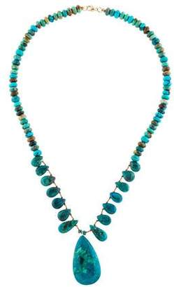 14K Chrysocolla & Turquoise Beaded Necklace