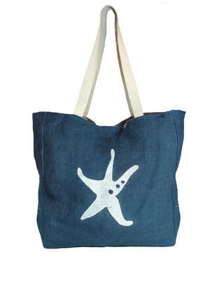 Aspiga Starfish Jute Beach Bag Navy/White