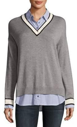 Joie Belva V-Neck Pullover Sweater, Gray