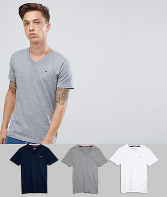 Hollister 3 Pack V-Neck T-Shirt Seagull Logo Slim Fit in White/Grey/Navy