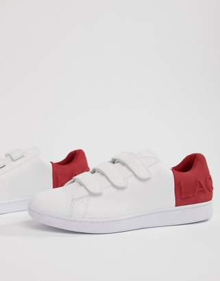 Lacoste Carnaby Evo strap 318 1 sneakers in white with red
