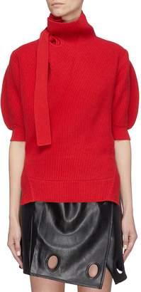 Self-Portrait Tie neck puff sleeve cotton-wool turtleneck sweater