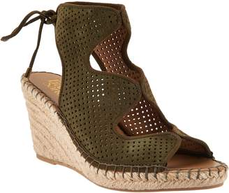 Franco Sarto Perforated Suede Espadrille Wedges - Nash