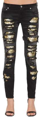 Faith Connexion Destroyed Sequined Skinny Jeans