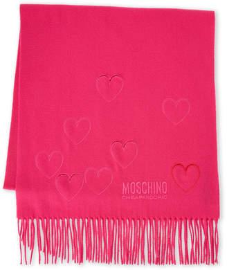 Moschino Cutout Heart Fringe Scarf