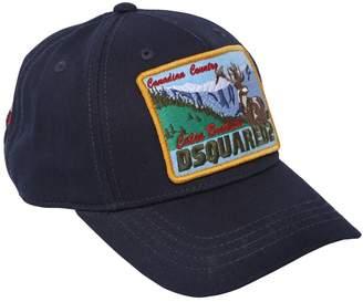 DSQUARED2 Deer Embroidered Cotton Gabardine Hat