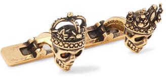 Alexander McQueen King and Queen Skull Burnished Gold-Tone Cufflinks - Men - Gold