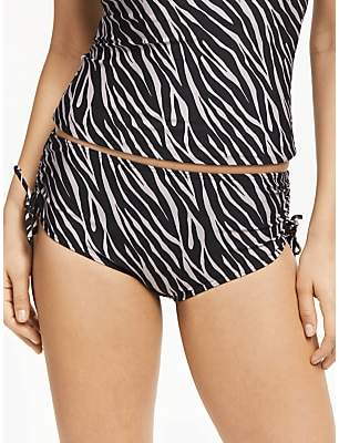 John Lewis & Partners Zizi Animal Ruched Bikini Shorts, Black/Taupe