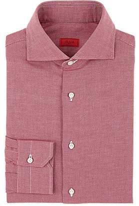 Isaia Men's Birdseye Cotton Dress Shirt - Wine