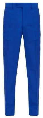 Calvin Klein Side Stripe Slim Leg Mohair Blend Trousers - Mens - Blue