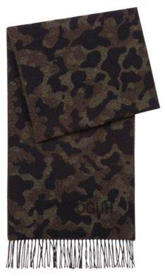HUGO Boss Camouflage scarf in a brushed-wool One Size Patterned