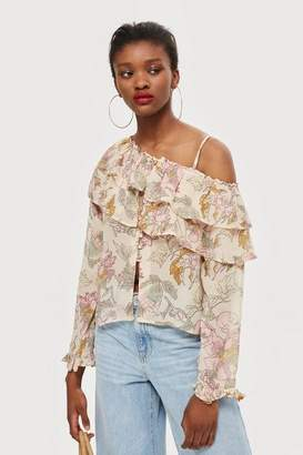 Topshop Floral frill off-shoulder top