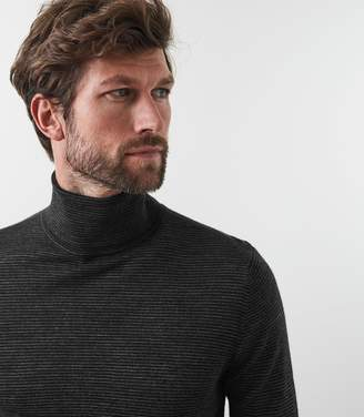 Reiss Our last order date for Christmas has now passed RINDER FINE STRIPED ROLLNECK JUMPER Charcoal