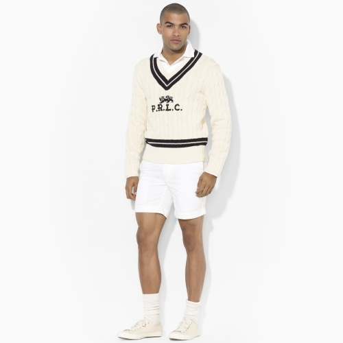 Polo Ralph Lauren Cabled V-Neck Cricket Sweater