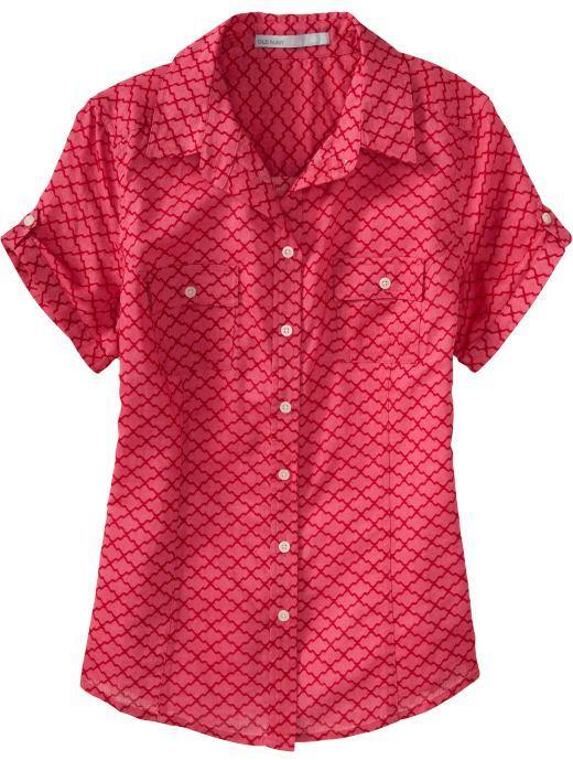 Women's Linen-Blend Camp Shirts