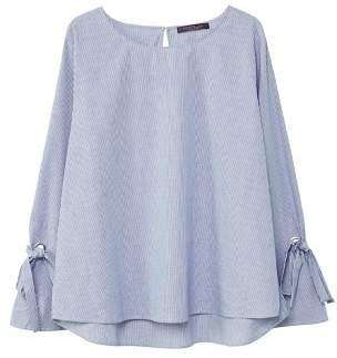 Violeta BY MANGO Bows fine-striped blouse