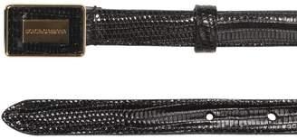 Dolce & Gabbana (ドルチェ & ガッバーナ) - Dolce & Gabbana Reptile Effect Leather Logo Belt
