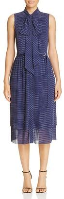 MICHAEL Michael Kors Pin Dot Tie Neck Shirt Dress $155 thestylecure.com
