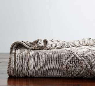 Pottery Barn Stonewashed Cable Knit Throw