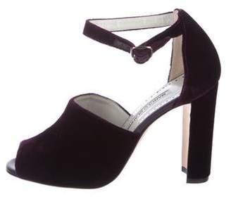 Manolo Blahnik Velvet Peep-Toe Sandals