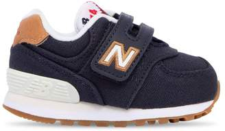 New Balance 574 Faux Leather & Canvas Strap Sneakers