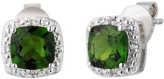 FINE JEWELRY Genuine Green Chrome Diopside Sterling Silver 8mm Stud Earrings
