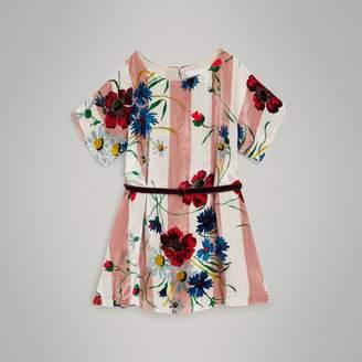 Burberry Childrens Striped Floral Print Velvet Shift Dress