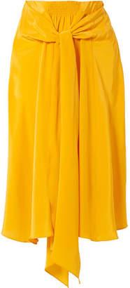 Tome Knotted Silk Crepe De Chine Midi Skirt - Saffron