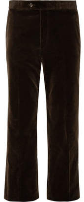 Gucci Wide-Leg Cropped Cotton-Velvet Trousers - Men - Dark brown