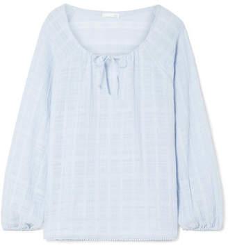 Skin - Textured Pima Cotton-gauze Pajama Top - Light blue