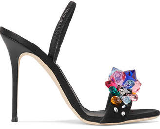 Giuseppe Zanotti Mistico Crystal-embellished Satin Slingback Sandals - Black